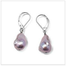 11 x 12mm Lavender Freshwater Baroque Dangle Earrings