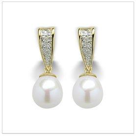 White Kamala a Japanese Akoya Cultured Pearl Earring