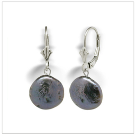Black Coin Pearl Freshwater Dangle Earring