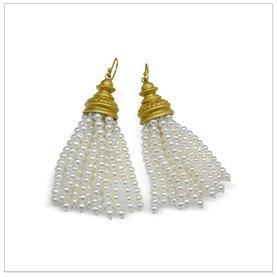 Greek II a Byzantine Style Tassel Freshwater Cultured Pearl Earring