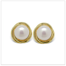 Fresh Spiral a Freshwater Cultured Pearl Earring