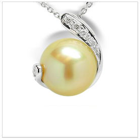 Nina a Golden South Sea Cultured Pearl Pendant
