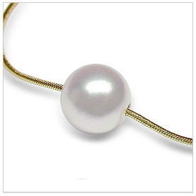 South Sea Cultured Pearl Slider Pendant on Snake Chain