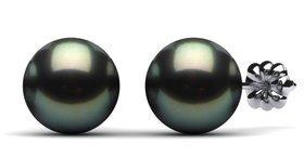 12mm Black South Sea Tahitian Pearl Earring