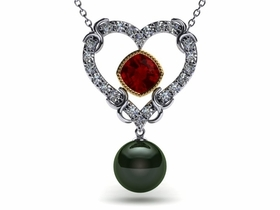 Vintage Heart Pearl Pendant