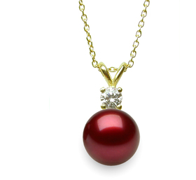 Cranberry Pearl and Diamond Pendant