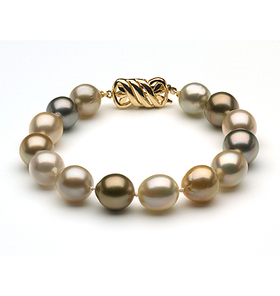 10 to 11mm South Sea Pearl Bracelet Multicolor Baroque