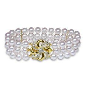 Triple Strand Cultured Pearl Bracelet