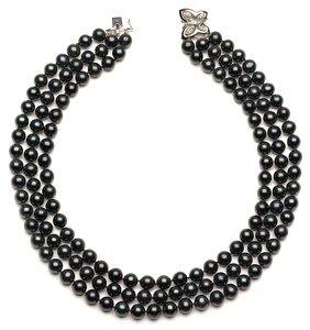 Triple Strand Black Pearls