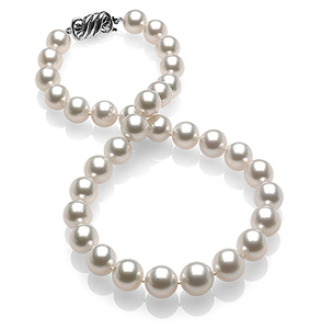 10 x 11.9mm White Round South Sea Pearl Necklace