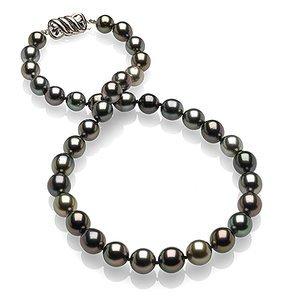 8.2 x 9.9mm Multicolor Tahitian Drop Pearl Necklace