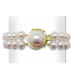 9mm Freshwater Pearl Bracelet w/Mabe Clasp
