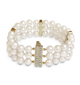 Olivia a Japanese Akoya Triple Strand Pearl Bracelet