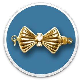 14K Yellow Diamond Bow Clasp