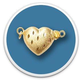 14K Yellow Golden Heart Clasp