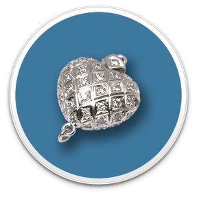 Heart Shaped Diamond Clasp