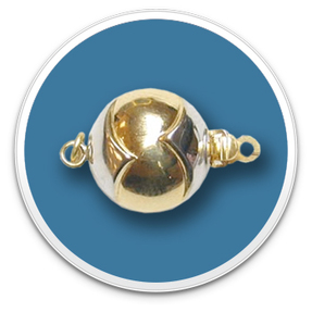 14K Two Tone Golden Ball Clasp