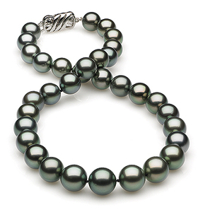 10.03x12.54mm Blue Tahitian Pearl Necklace
