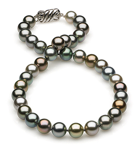 9.26x9.97mm Multicolor Tahitian Pearl Necklace