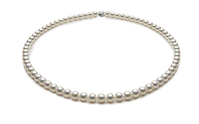 TRUE AAA Quality 5.5 x 6mm Natural White Akoya Cultured Pearl Necklace