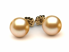 9mm Golden Pearl Earring