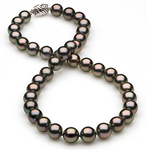 9mm to 10mm Peacock Tahitian Pearl Necklace