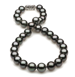 12 x 13.65 Dark Black Green Tahitian Pearl Necklace