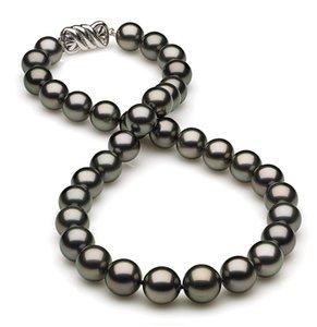 10 x 11.9mm Black Green Tahitian Pearl Necklace