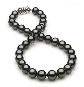 10 x 11.9mm Dark Black Green Tahitian Pearl Necklace