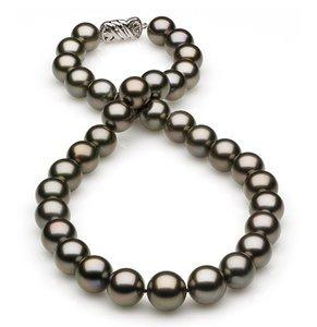 12 x 13.7mm Dark Grey Rose Tahitian Pearl Necklace