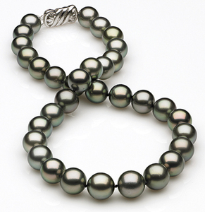 10 x 12.1mm Dark Grey Green Tahitian Pearl Necklace