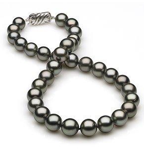 10 x 11.9mm Medium Grey Green Tahitian Pearl Necklace