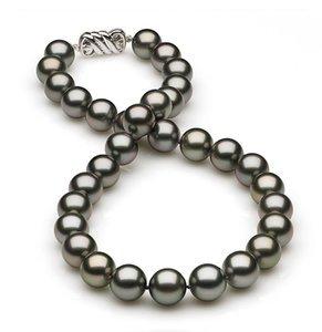 10.36 x 11.9mm Dark Grey Silver Tahitian Pearl Necklace