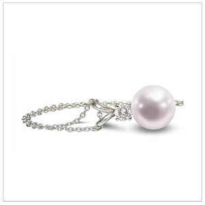 8mm Cultured Pearl and Diamond Pendant Necklace with .15 Carat T.D.W.