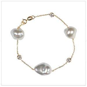 South Sea Keshi Pearl Tin Cup Bracelet