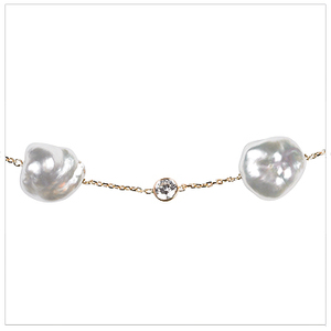 South Sea Keshi Pearl Tin Cup Necklace