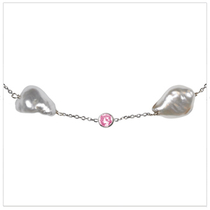 South Sea Keshi Pearl and Pink Sapphire Tin Cup Necklace