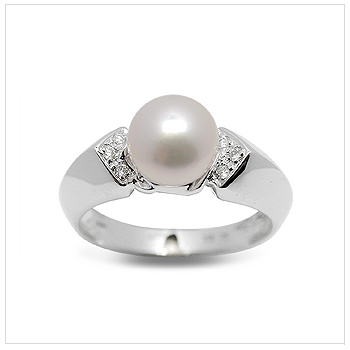 Chantel a Japanese Akoya Cultured Pearl Ring