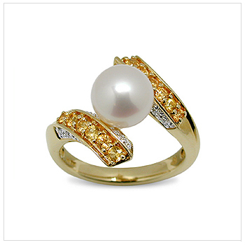 Golden Muse a Japanese Akoya Cultured Pearl Ring