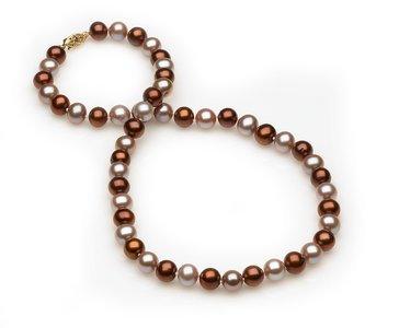 8mm Mocha Lavendar Pearl Necklace