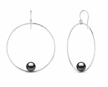 Tahitian Pearl Round Circle of Life Pearl Earring