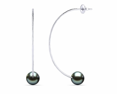 Tahitian Pearl Semi Circle Hammered Earring