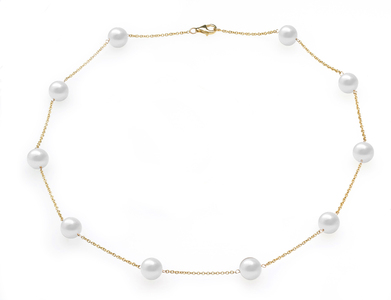 White Freshwater Tin Cup Necklace