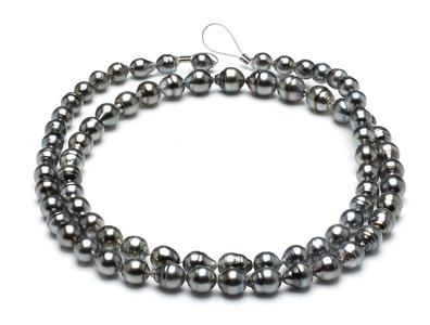 32 Inch - 8mm-10mm-tahitian-pearl-necklace-baroque-south-sea-aaa-32inch-s5-clabc52-grey-color-b245