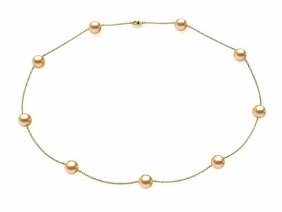 Golden Pearl Tin Cup Necklace