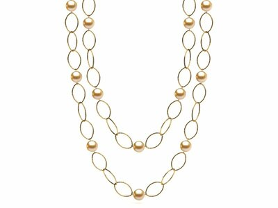 36 Inch Golden Pearl 10mm Hammered Link Necklace