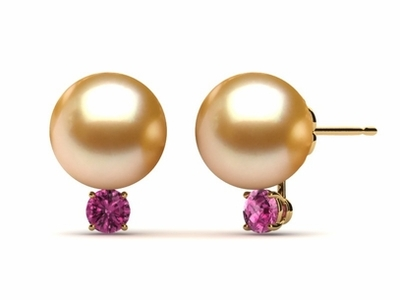 Golden South Sea Pearl Grace Earring With Pink Sapphires
