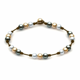 Pearl and Leather Necklace White Golden Tahitian