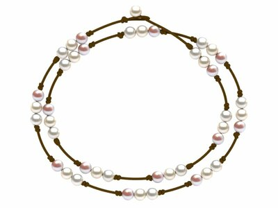 Pearl and Leather St. Barts Triple Pearl Lariat