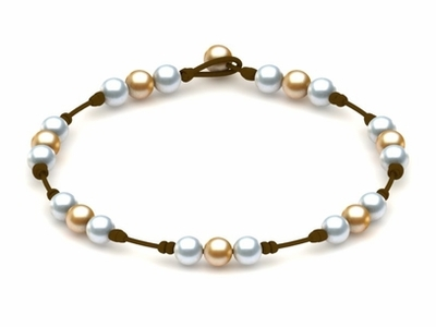 Pearl & Leather Necklace White Golden White